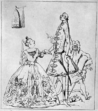 "Francesca Cuzzoni - A caricature of Cuzzoni, Farinelli and Heidegger, by Goupy after Ricci, c1729-30. In the accompanying verse Cuzzoni is referred to as ""thou warbling bird"", Farinelli as ""thou tuneful scarecrow""."