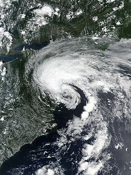 An image of Tropical Storm Fay at peak intensity while off the coast of New Jersey, shortly before landfall there.
