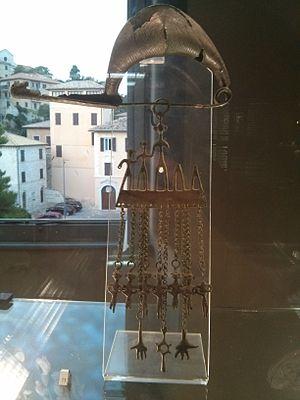 """Picentes -  Bronze fibula and """"pettorale"""" at Museo Archeologico Nazionale delle Marche, Ancona"""