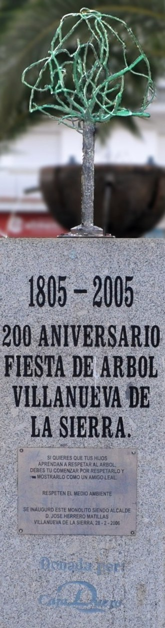 Arbor Day - The naturalist Miguel Herrero Uceda at the monument to the first Arbor Day in the world, Villanueva de la Sierra (Spain) 1805.