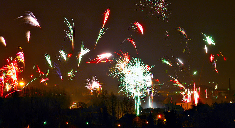 "André Karwath aka Aka (https://commons.wikimedia.org/wiki/File:Fireworks_in_Zwickau.jpg), ""Fireworks in Zwickau"", https://creativecommons.org/licenses/by-sa/2.5/legalcode"