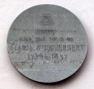Maria Fitzherbert - Commemorative plaque at Maria Fitzherbert's burial place in Brighton