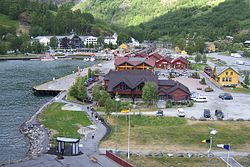Flåm harbour and railway station
