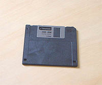 The non-ferromagnetic metal sliding door protects the 3½-inch floppy disk's recording medium.