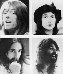 "Group members in 1973, as pictured on the back cover of their second album; clockwise from top left: ""Lonesome"" Dave Peverett, Tony Stevens, Roger Earl, Rod ""The Bottle"" Price"