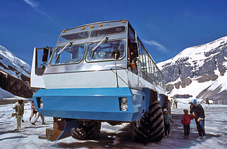 Snow coach - Foremost Terra Bus at Athabasca Glacier in the 1980s.