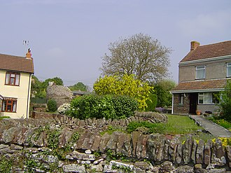 Henfield, Gloucestershire - A relic from the hamlet's industrial past between the two dwellings.