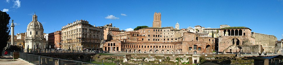 A panoramic view of the Forum Trajanum, with the Trajan's Column on the far left.