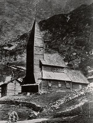 Fantoft Stave Church - 1873 photo of the Fantoft Stave Church before it was moved to Bergen