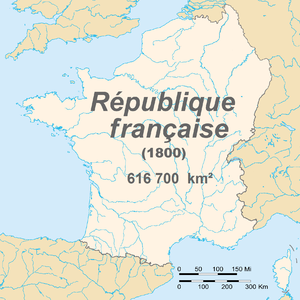 Natural borders of France - The French First Republic in 1800. The borders of France then corresponded closely to the 'natural borders' as defined by the French revolutionaries.