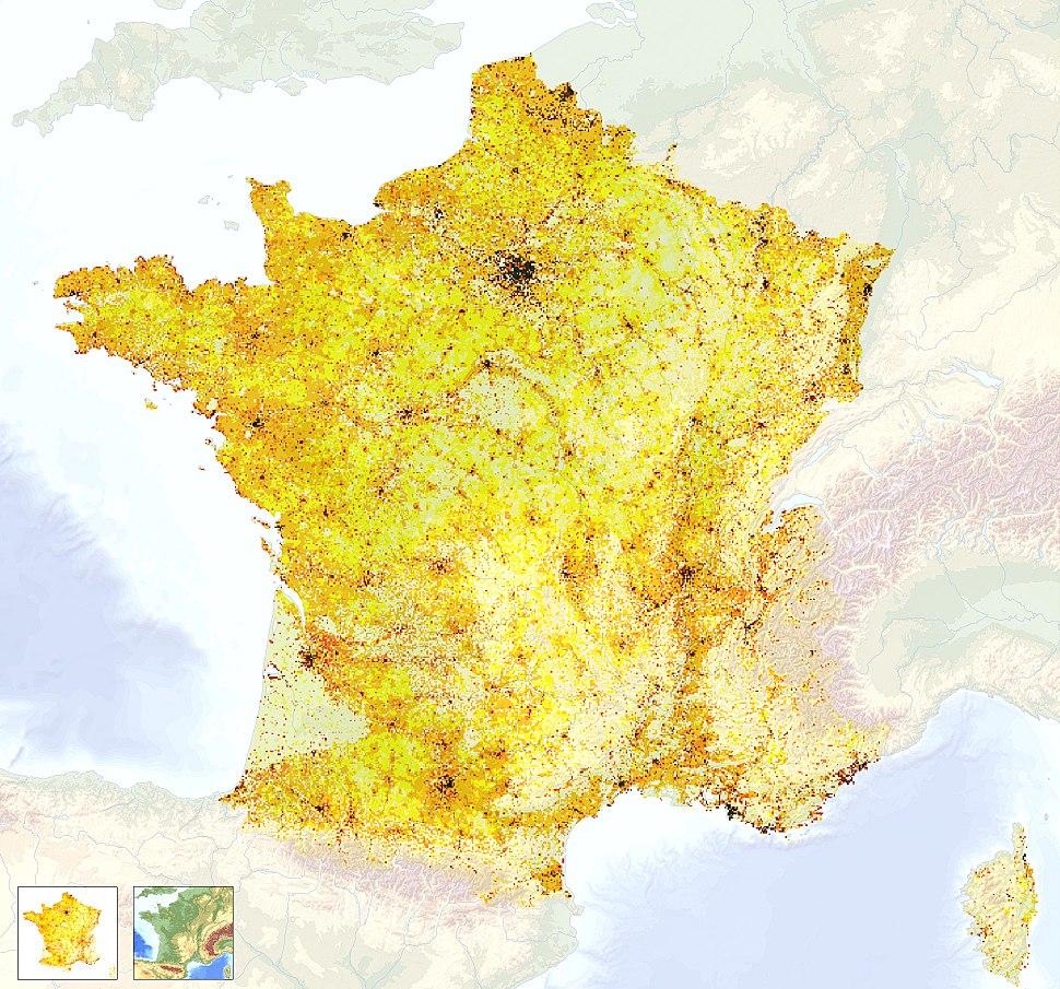 France topography & population density