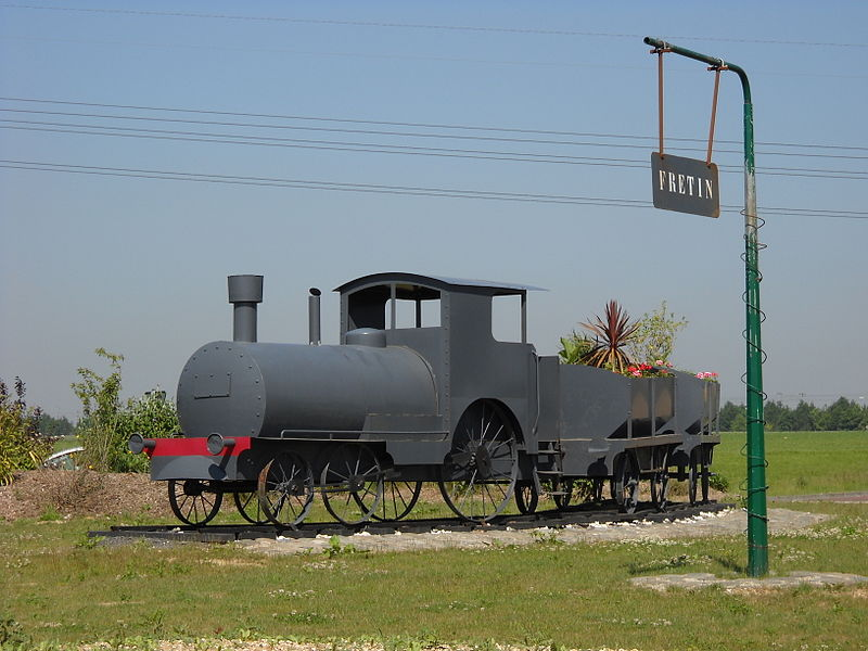 A model of locomotive at the border of Fretin and Péronne-en-Mélantois, Nord, France.