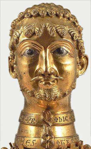 "Frederick I, Holy Roman Emperor - A golden bust of Frederick I, given to his godfather Count Otto of Cappenberg in 1171. It was used as a reliquary in Cappenberg Abbey and is said in the deed of the gift to have been made ""in the likeness of the emperor""."