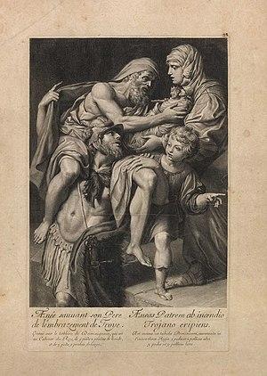 Énée sauvant son père de l'embrasement de Troyes par Gérard Audran, Date inconnue ( circa 1666-1672 ), d'après la peinture de Pietre de Cortone dans le palais Pamphili