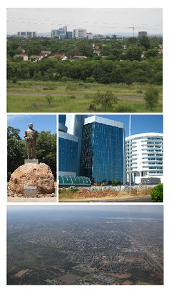 Frae tap tae bottom: skyline view o Gaborone, statue o Seretse Khama, the ceety centre o Gaborone, bird's-ee view o Gaborone