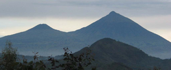 View of Mount Gahinga and Mount Muhabura, on the Rwanda/Uganda border