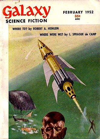 Richard M. Powers - In 1952, Powers provided a Galaxy Science Fiction cover highlighting essays by de Camp and by Robert A. Heinlein