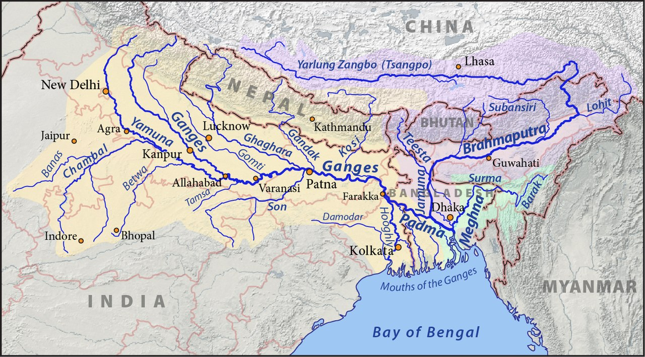 Map of the combined drainage basins of the Ganges (orange), Brahmaputra (violet), and Meghna (green)