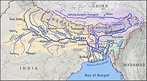 Indian Rivers Inter-link - Map of the Ganges (orange), Brahmaputra (violet), and Meghna (green) drainage basins.