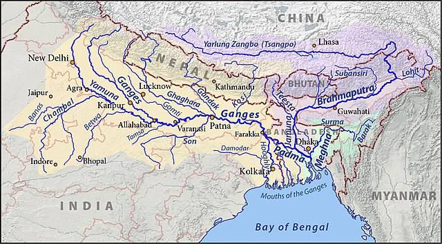 Course of the Yarlung Zangbo / Brahmaputra river