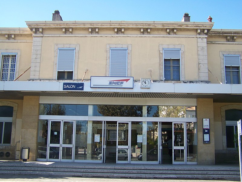 Front of Salon-de-Provence railway station in Bouches-du-Rhône, France.