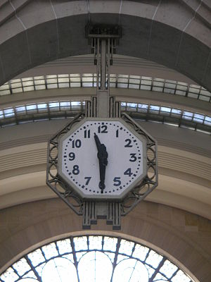 Art deco clock in one of the arrival halls of ...