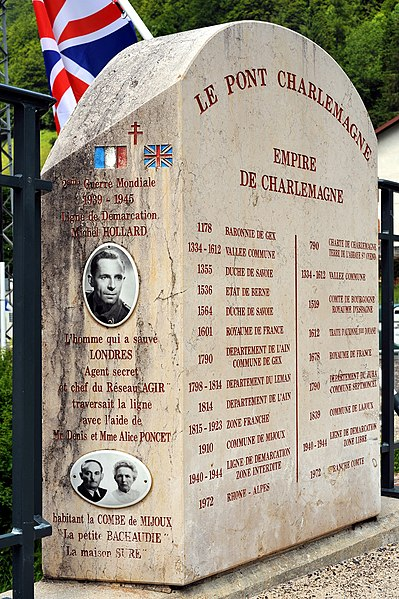 Memorial stone on the Pont Charlemagne crossing the Valserine in Mijoux; Ain and Jura, France. 4th route of Michel Hollard from Saint-Claude via Mijoux and Combe du Faoug to La Rippe.