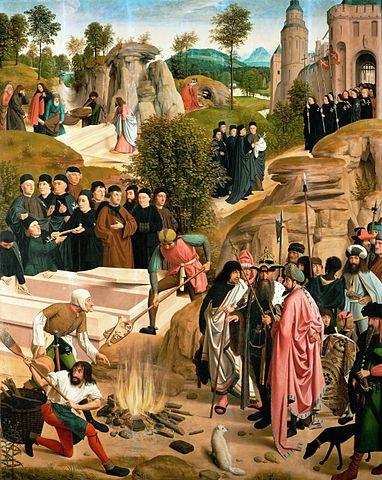 Гертген тот Синт Янс. «Сожжение останков Иоанна Крестителя» Юлианом Отступником, 1484