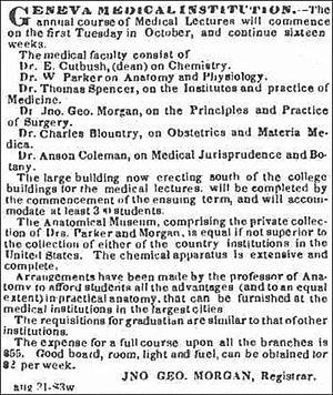 Geneva Medical College - Geneva Medical Institution – Advertisement for the fall semester on August 14, 1835