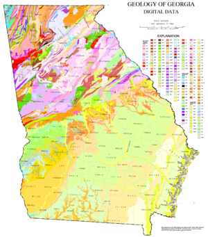 Geologic map of Georgia (U.S. state) - Map produced by the U.S. Department of the Interior
