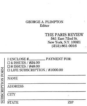 George Plimpton's Business Card (The Paris Review)