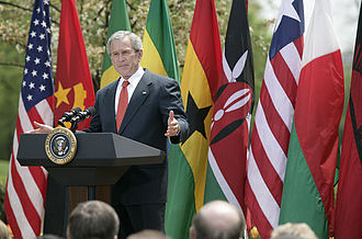 World Malaria Day - President Bush addresses Americans in The White House Rose Garden about the issues of malaria