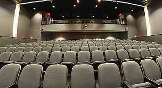 Texas A&M College of Architecture - Geren Auditorium in Langford Building B. The newly renovated facility's space mainly consists of the auditorium and workshop; however, there are also offices located on the second floor.