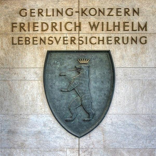 Datei:Gerling-Konzern Köln - Wappen der Friedrich Wilhelm Lebensversicherung (4241-43).jpg