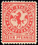 Germany Stuttgart 1886 local stamp 10pf - 5 unused.jpg