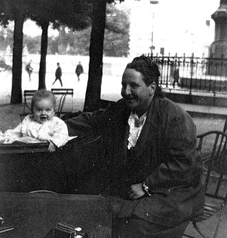 "Lost Generation - Gertrude Stein with Ernest Hemingway's son, Jack Hemingway (nicknamed Bumby) in 1924. Stein is credited with bringing the term ""Lost Generation"" into use."
