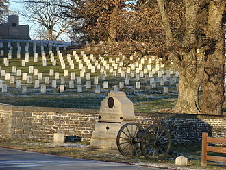Gettysburg Battlefield - The Lincoln Address Memorial (top left) in the Gettysburg National Cemetery.  The 2 small flanking markers for the 3rd NY Artillery monument (foreground) indicate the breadth of the unit's position.