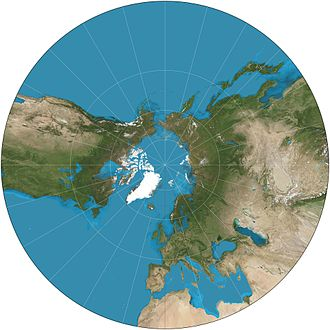 Gnomonic projection - Gnomonic projection of a portion of the north hemisphere centered on the geographic North Pole