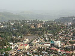 View of the city with Fasil Ghebbi in the center