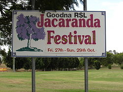 Goodna Jacaranda Festival Sign