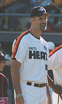Grame Lloyd wearing a Perth Heat baseball uniform.
