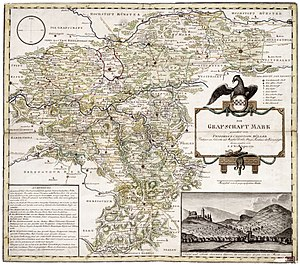 County of Mark - A 1791 map of the County of Mark by German cartographer Friedrich Christoph Müller (1751–1808)