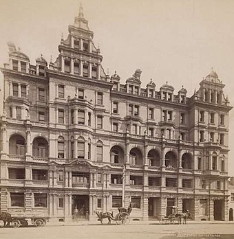 Grand Central Coffee Palace in the 1890s. At the height of the Victorian era in Australia, ornate temperance coffee palaces were constructed as a reflection of the wealth of the country. Grand central coffee palace sydney.jpg