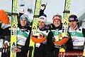Gregor Schlierenzauer, Andreas Kofler, Thomas Morgenstern, Martin Koch Oslo 2011 (team, normal hill).jpg
