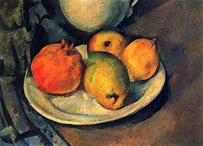 Grenade et poires dans une assiette, par Paul Cézanne, Yorck.jpg