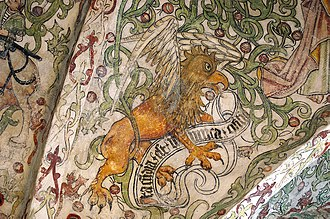 St. Peter's Church, Malmö - Fresco depicting a griffin in Krämarkapellet. A griffin also appears on the coat of arms of Malmö.