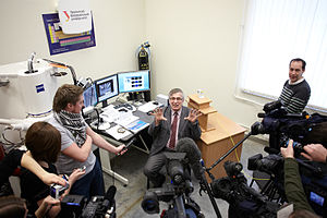 UrFU, Institute of Physics and Technology - IPT associate professor Victor Grohovsky talks to press during presentation of analysis results of the samples of Chebarkul meteorite
