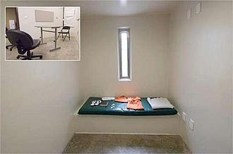 Moazzam Begg - Cell in which a Guantanamo Bay prisoner was detained. Inset is the prisoners' reading room