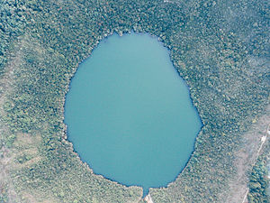 Bacatá - The almost circular Lake Guatavita was one of the most sacred sites of the Muisca. In this lake, the initiation ritual of the new ''zipa'' was held