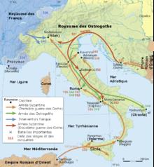 Carte de la guerre des Goths, en bas à gauche une légende en français